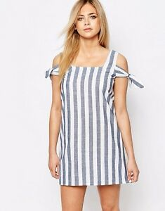 1ade23fde99 BooHoo Striped Off The Shoulder Shift Dress - Blue White   US 10 ...