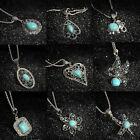 Fashion Vintage Tibetan Silver Turquoise Bib Crystal Pendant Women Long Necklace