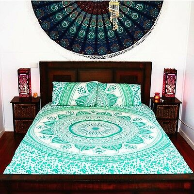 Queen Size Hippie Tapestry Blue Mandala Throw Wall Hanging Gypsy Boho Bedspread