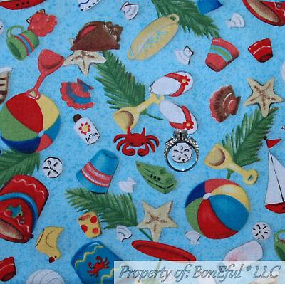 BonEful Fabric FQ Cotton Quilt VTG White Blue Sea*Shell Toile Beach Nature Ocean