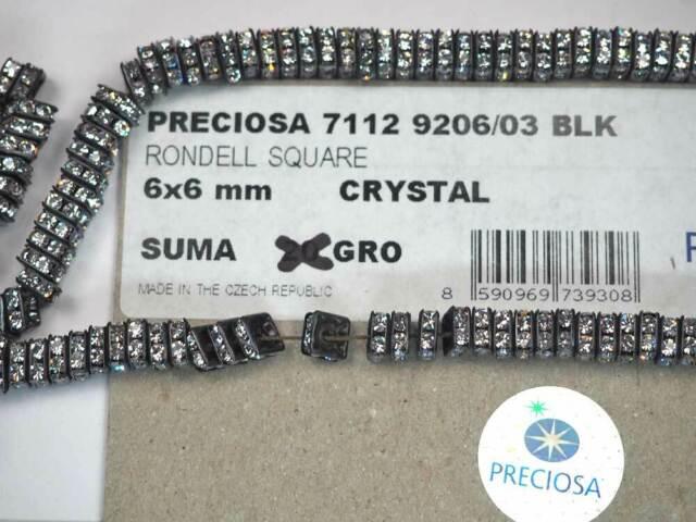 144 Preciosa Genuine Czech Rhinestone Squaredelles 8mm Crystal AB Black Plated