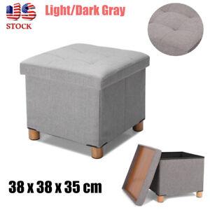 Brilliant Details About 15X15X14 Small Storage Soft Ottoman Storage Box Stool Folding Light Dark Gray Short Links Chair Design For Home Short Linksinfo