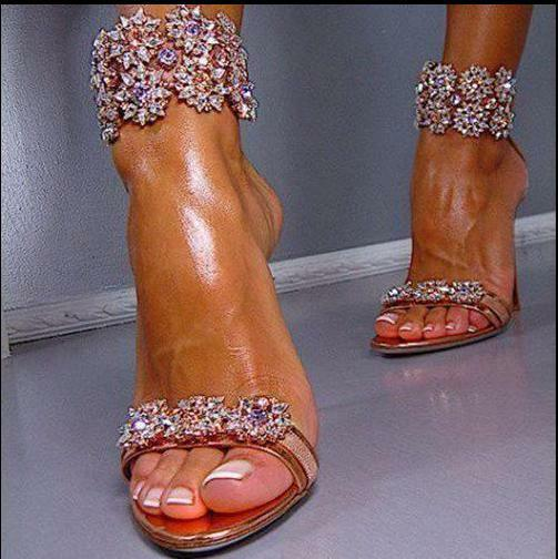 Sandals Stilettos High Heel Peep Toe shoes Hot  Ladies Strappy Rhinestones