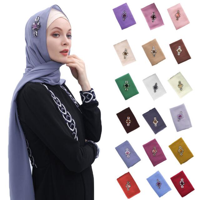 Muslim Women/'s Long Chiffon Scarf Rhinestone Hijab Islamic Prayer Scarves Shawl
