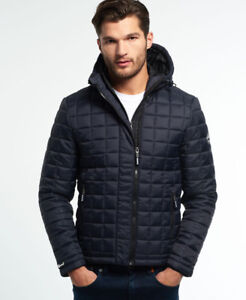 New Mens Superdry Box Quilt Fuji Jacket Navy