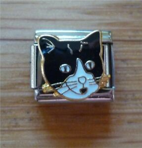 9mm-Italian-Charms-E35-Black-and-White-Cat-Face-Fits-Classic-Size-Bracelet