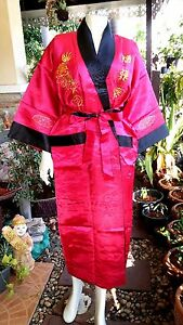 1cd00a91ce19b3 Das Bild wird geladen Asia-Herren-Damen-Kimono-Japan-China-Satin-Bademantel-