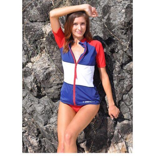 New Ladies Rashie Rash Vest Top Swim Wet Shirt XS S M L XL 2XL UPF50 womens