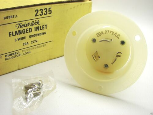 New Hubbell 2335 Twist-Lock Flanged Inlet 3-Wire Grounding 277V 20A  b100