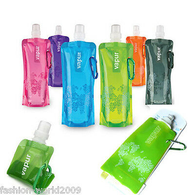 Sport Camping Reusable Foldable Water Drink Bottle with Carabinier Hook 16OZ New