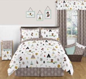 Details about Sweet Jojo Designs Blue Gray Fox Bear Full Queen Kids Boys  Bedroom Bedding Set