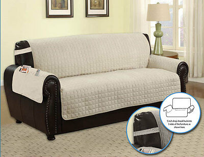 MICROFIBER FURNITURE PROTECTOR WITH SIDE POCKET AND STRAP, PET DOG COUCH, BEIGE