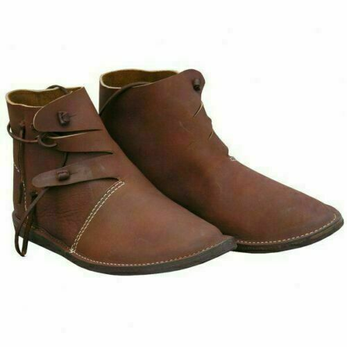 Roman Medieval Leather Shoes Reenactment Theater Brown Color Fancy New Style