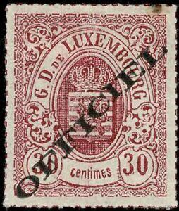 Lussemburgo LUXEMBOURG 1875 STEMMA 30c officiel mi:7 Ia MH * kw:55 € esaminato Demuth