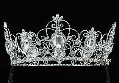 """Pageant Wedding 3.5/"""" Full Circle Round Tiara Sapphire King Queen Crown CT1721"""