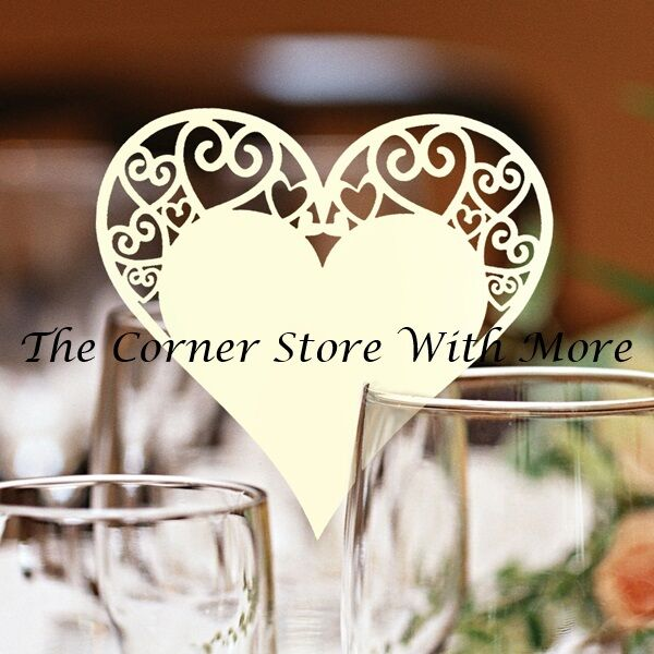 1 x Ivory Pearl Love Heart Name Glass Place Cards Wedding Engagement DIY Blank