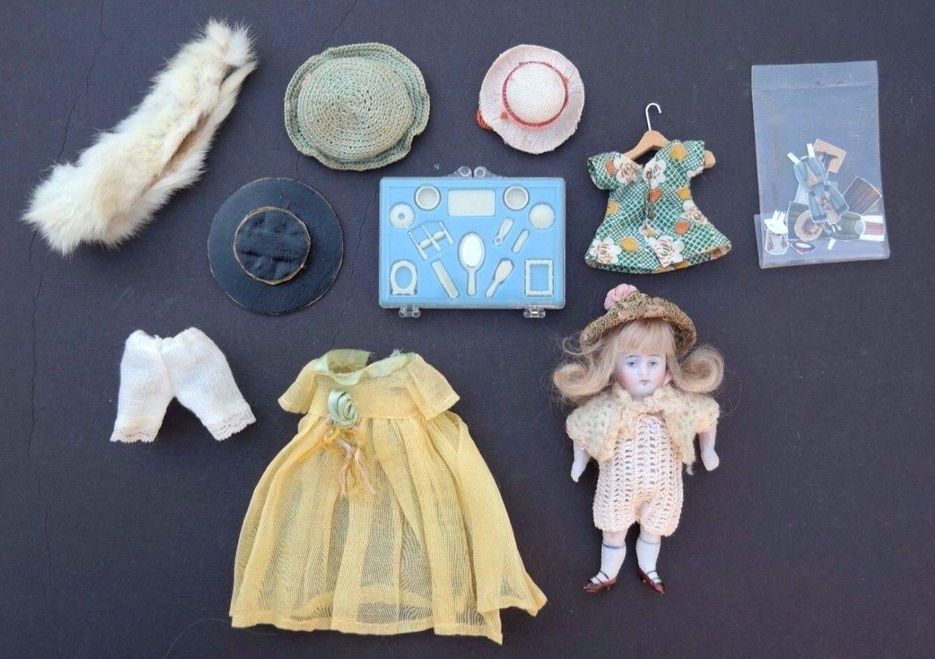 De Colección Década de 1900 Muñeca Biscuit Mini 4  Kestner Antiguo Pintado Calcetines 130 072 & ACC