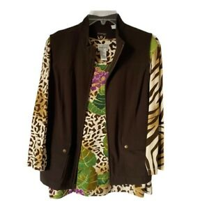 Zenergy-Chicos-Womens-Vest-And-Blouse-Brown-Green-Zip-Up-Pockets-Stretch-M-L