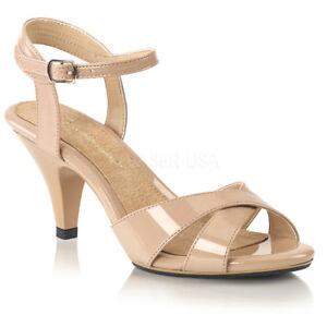 Fabulicious BELLE-315 Women's Beige Dress Medium Heels Criss Cross Strap Sandals