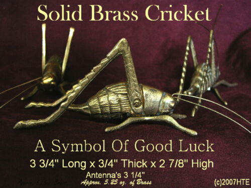 """SOLID BRASS CRICKET is the SYMBOL OF A FIGHTING SPIRIT /& GOOD LUCK 3 3//4/"""" long"""