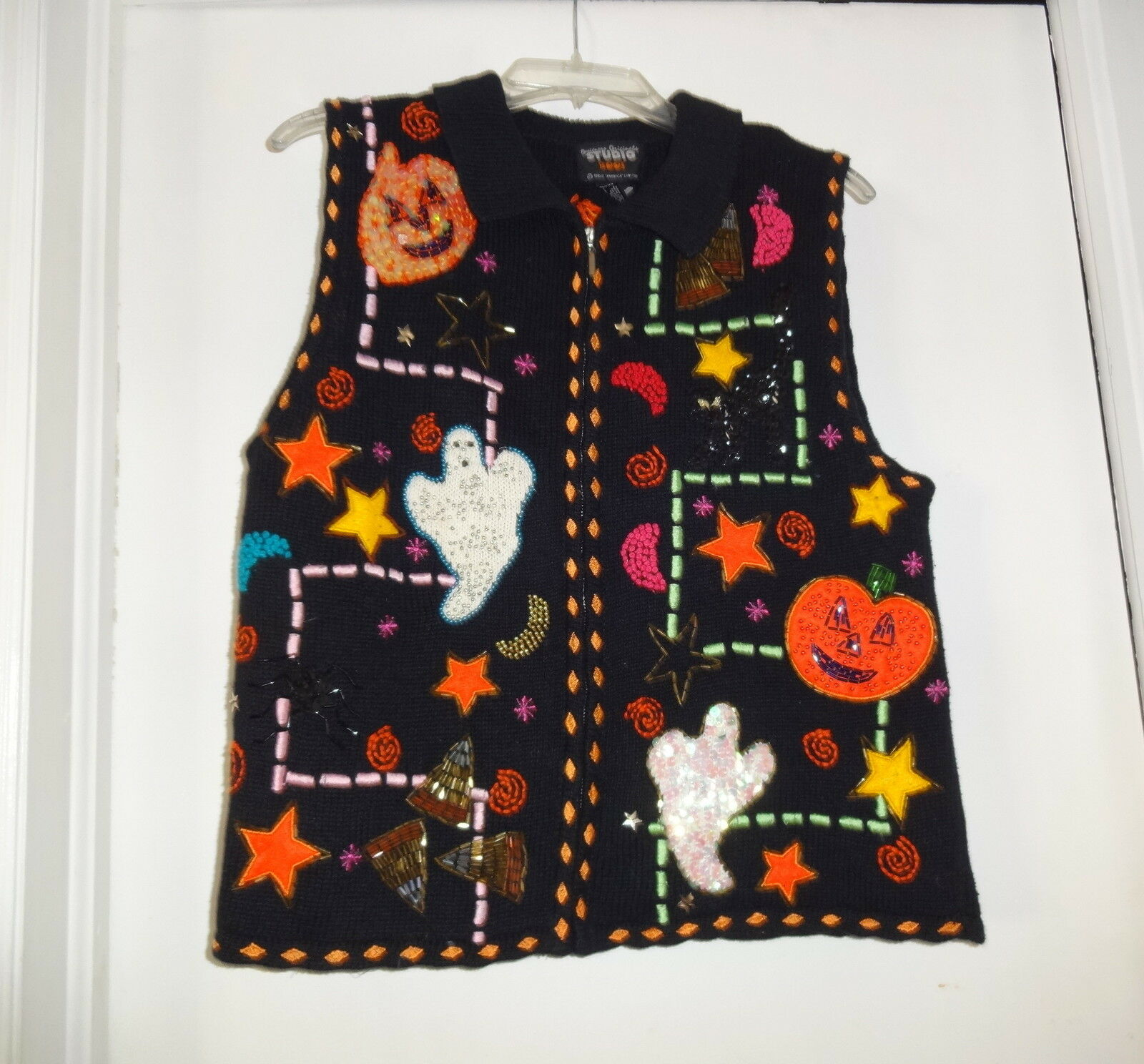 Wilners Sparkle Sequins Beaded Beaded Beaded Ugly  Christmas Hallowen Sweater Vest M 49426a