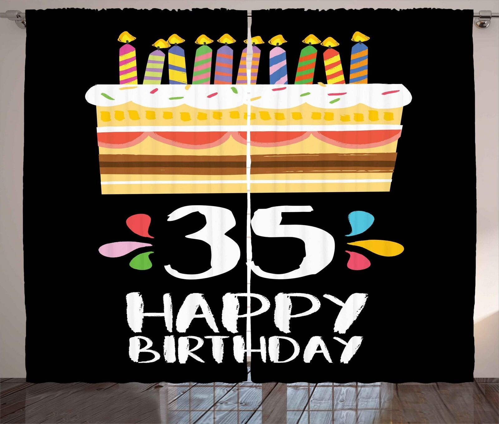 35th Birthday Curtains 2 Panel Set Decor 5 Dimensiones Available Window Drapes