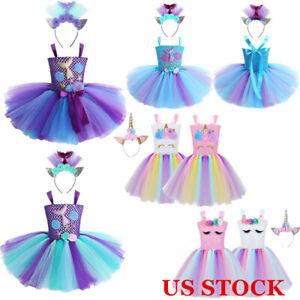 Girls Princess Mesh Mermaid Tutu Skirt Kids Flower Cute Cosplay Costume Dress