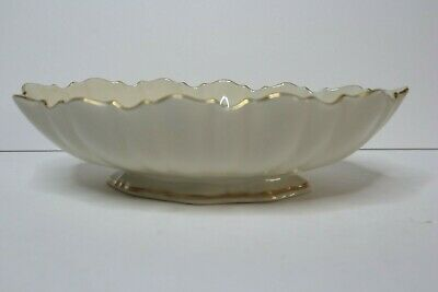 Lenox Oval Bowl ribbed and scalloped with gold trim