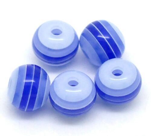 Lot 50 Perle 6mm Rayé Bleu Marine en resine 6 mm perle rayée rayes
