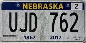 GENUINE-Nebraska-Sower-Statue-150-year-License-Licence-Number-Plate-Tag-UJD-762