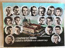 CARTOLINA CALCIO GRANDE TORINO COMMEMORATIVA TRAGEDIA SUPERGA 1949 CON TIMBRO