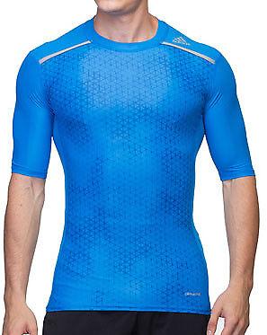 adidas Techfit Graphic Mens Compression Top Short Sleeve T-Shirt Blue Medium
