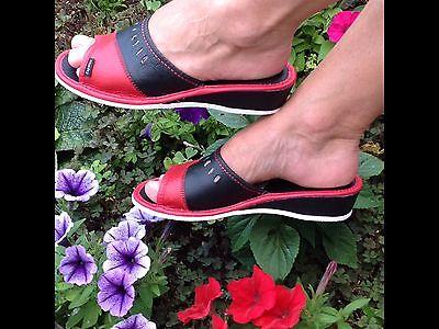 Nuevo Mujeres Negro Marrón Cuero Flip Flop Zapatillas Zapatos Jardín Talla 3 4 5 6 7 8