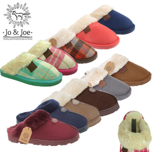 Ladies Fur Collar Lined Winter Faux Suede Slippers Slip on Mules Women UK 3-8