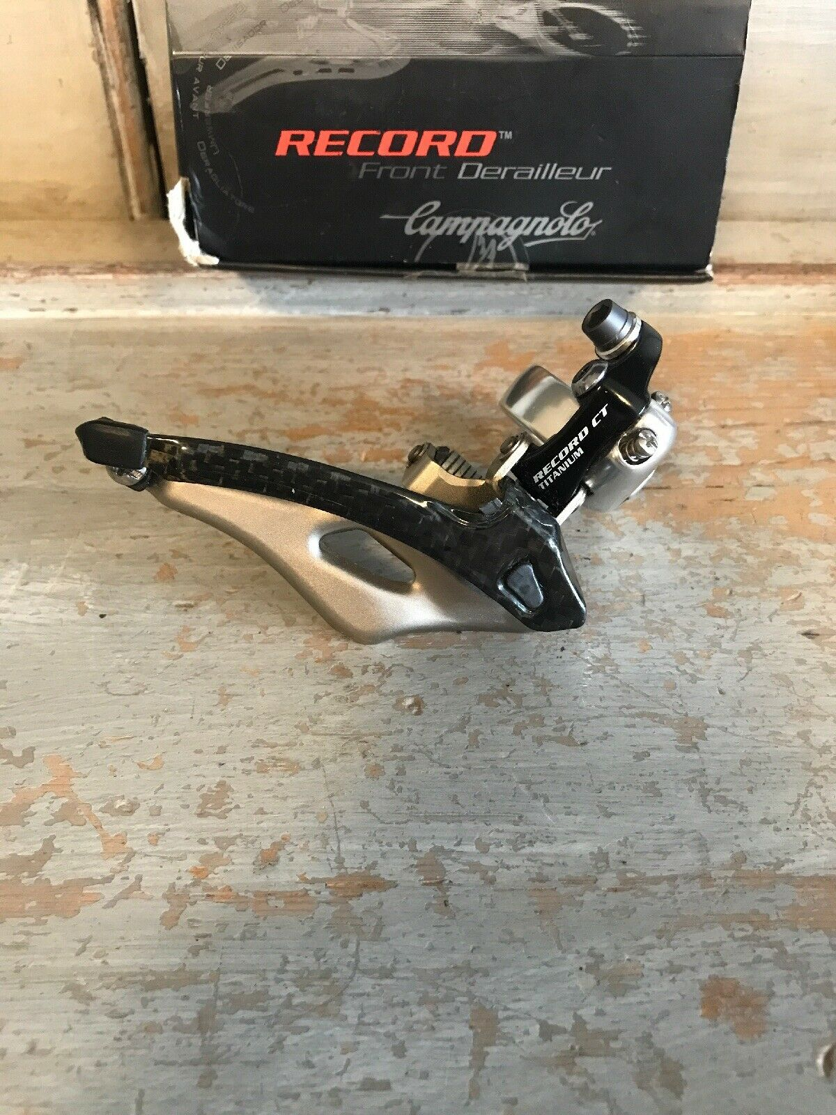 NOS Campagnolo Record Carbon 32mm Front Clamp -On Mech  Deraileur Compact 10 Spd