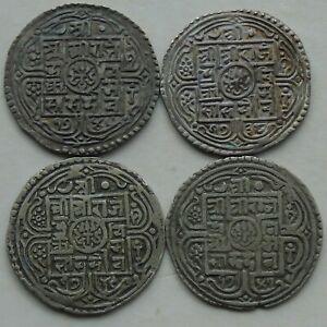 4 x Nepal Silver Mohar Rajendra Vikrama KM#565 C1816-1847 Nice Grades, c)
