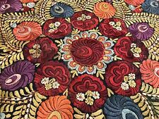 """Large Vintage MATYO Hungarian SILK EMBROIDERY TABLECLOTH w/ FRINGE 47"""" x 47"""""""