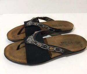 Naot-42-Black-Jennifer-Sandal-Thong-Gold-Beads-Israel-Silver-Weave