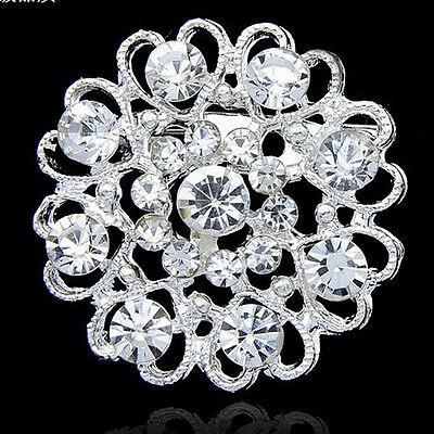 Silver Plated colorful crystal rhinestone brooch pin For wedding party Jewelry
