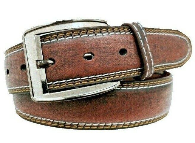 Echt Herren Jeans-Gürtel Classic Schnalle Leder Gürtel Braun Belt 4 cm Breit NEU