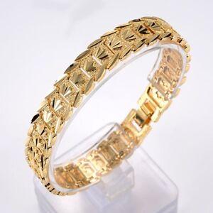 18K-Yellow-Gold-Filled-Men-039-s-Women-039-s-Bracelet-GF-11mm-Chain-8-034-Link-Jewelry