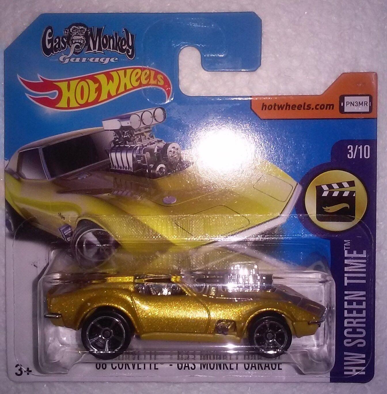 Hot Wheels Hunt (1) 2018 -'68 Corvette-Gas Monkey Garage-Tarjeta Corta (menta en tarjeta de Menta)