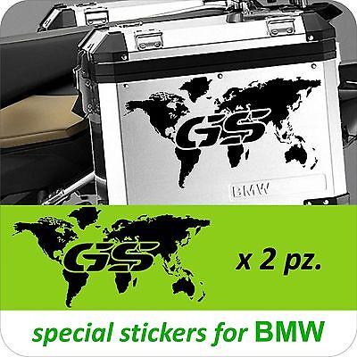 2 Adesivi Stickers Planisfero Moto BMW R 1200 1150 1100 gs valigie adventure GS