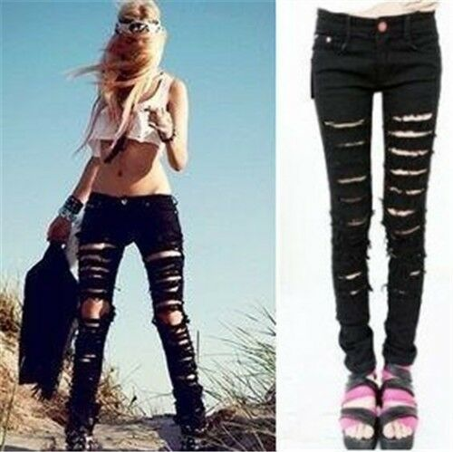 Hot Sexy Black Cut-out Punk Ripped Skinny Women Pants Jeans Jeggings Trousers