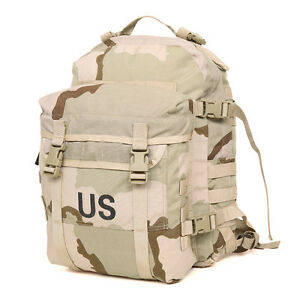 USGI ARMY MOLLE ASSAULT PACK DESERT CAMO TRI COLOR 3 DAY PACK BACKPACK GOOD