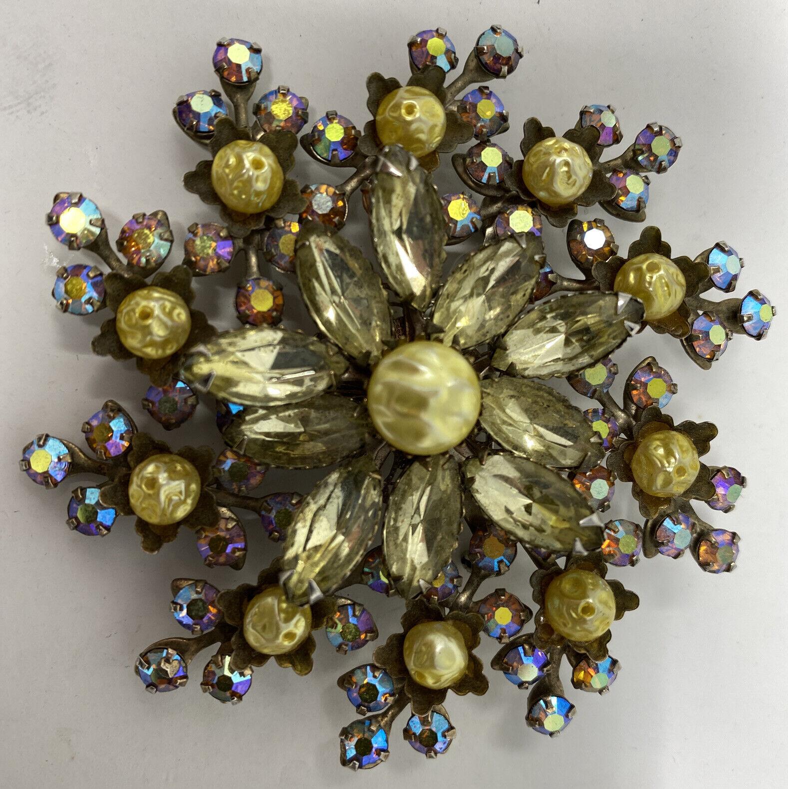 Sparkly Vintage Aurora Borealis AB Crystal Citrin… - image 2