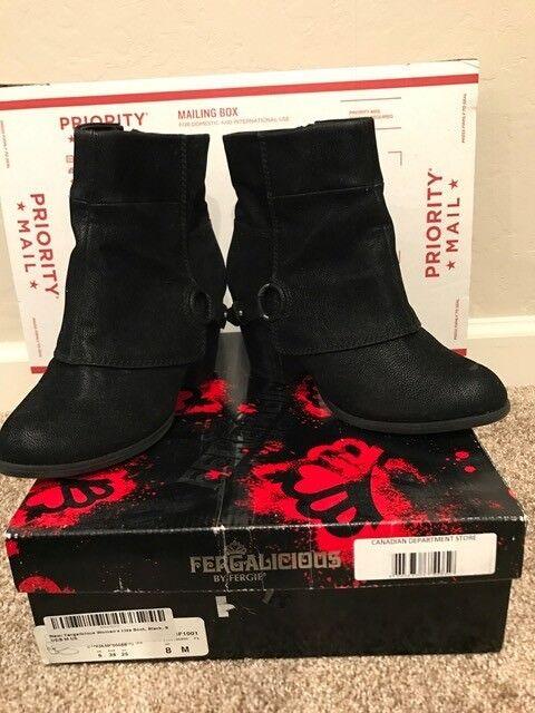 Fergalicious para Mujer Estilo Oeste Moto Negro liza bota botas elegante, Nuevo