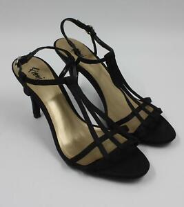 Fioni-Ladies-Womens-Black-Strappy-Sandals-Heels-Shoes-Size-6-5M