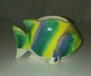 Vintage Rainbow Color Fish Pottery Planter possibly McCoy USA Collectible Nice