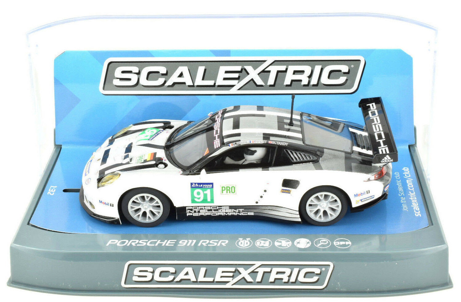 Scalextric Porsche 911 RSR - 2016 24h LeMans DPR W  Lights 1 32 Slot Car C3944